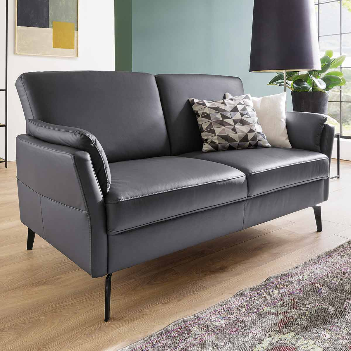 Sofa 12 Sitzer in Leder grau