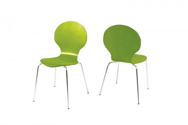 Stapelstuhl in Grün mit geschwungener Sitzschale