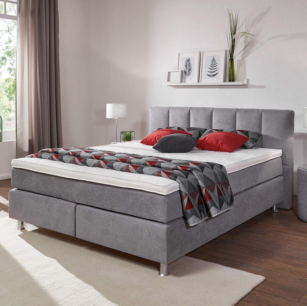 boxspringbett easy good in taupe ca 160x200 cm flamme. Black Bedroom Furniture Sets. Home Design Ideas