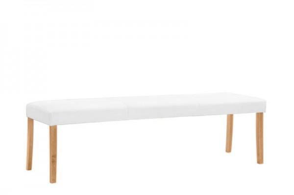 Polsterbank in weiß mit Holzfüßen, 140x47x40 cm