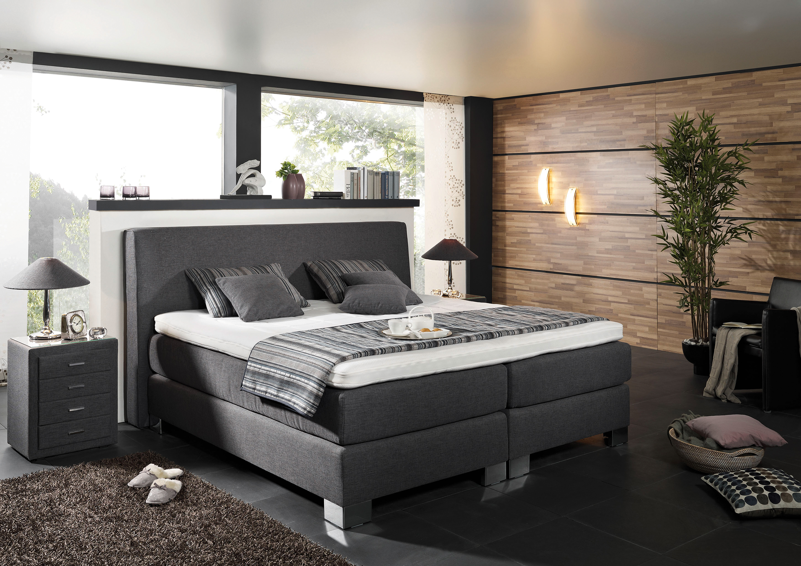 boxspringbett mega spring in grau ca 200x200 cm flamme. Black Bedroom Furniture Sets. Home Design Ideas