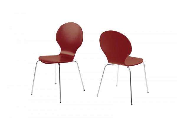 Stapelstuhl mit geschwungener Sitzschale, Rot bei flamme.de