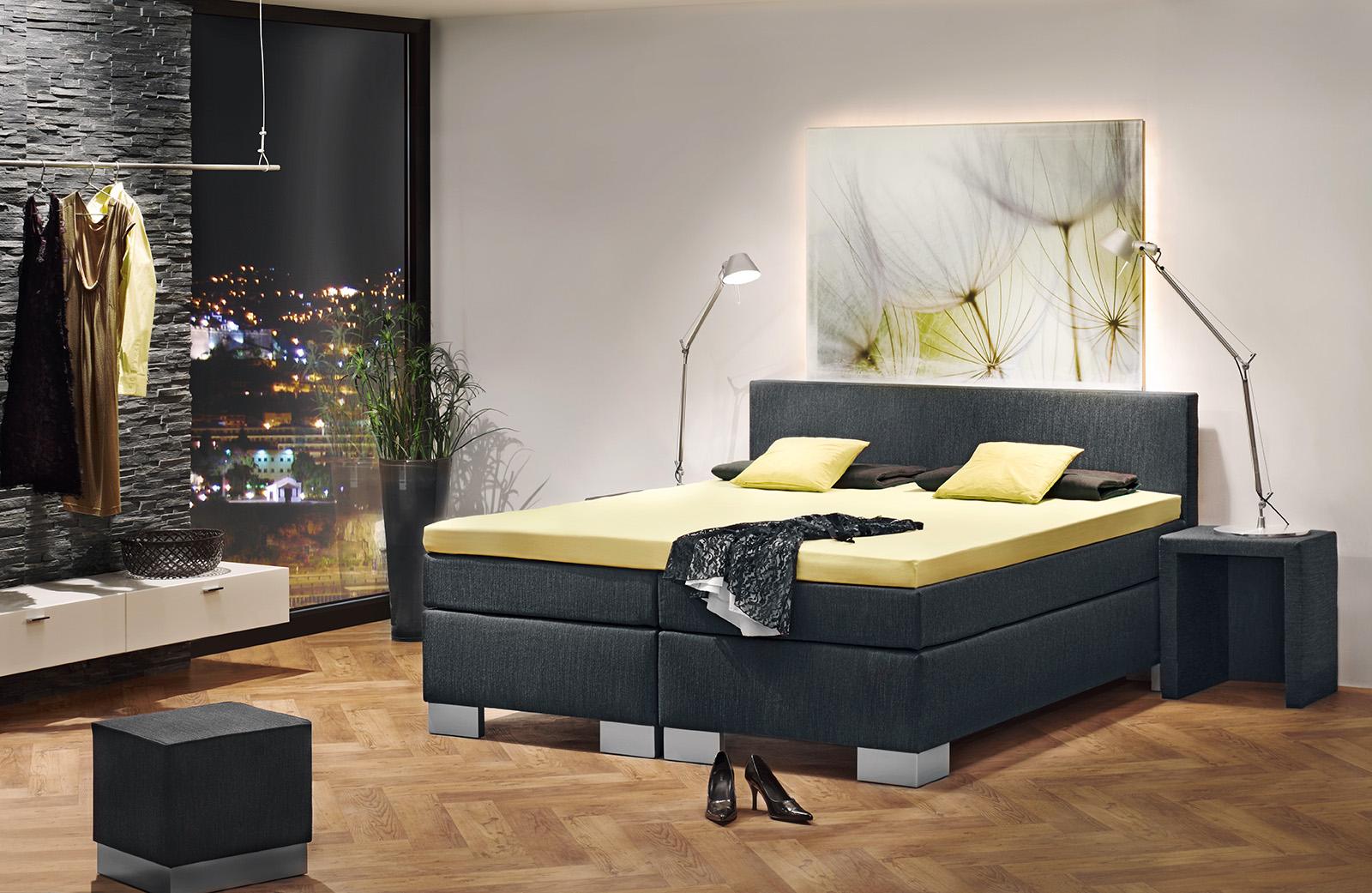 boxspringbett grand luxe von fey co ca 180x200 cm flamme. Black Bedroom Furniture Sets. Home Design Ideas