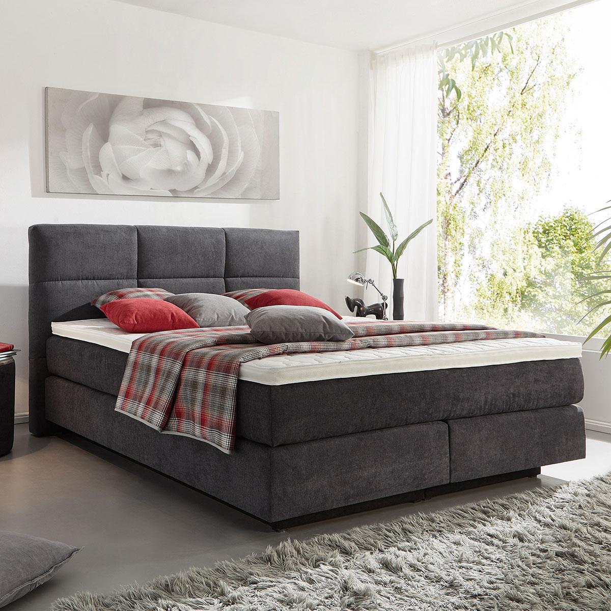 boxspringbett easy better in khaki ca 180x200 cm flamme. Black Bedroom Furniture Sets. Home Design Ideas