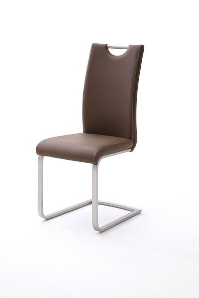 schwingstuhl mit griffloch in kunstleder braun mit kontrastnaht flamme. Black Bedroom Furniture Sets. Home Design Ideas