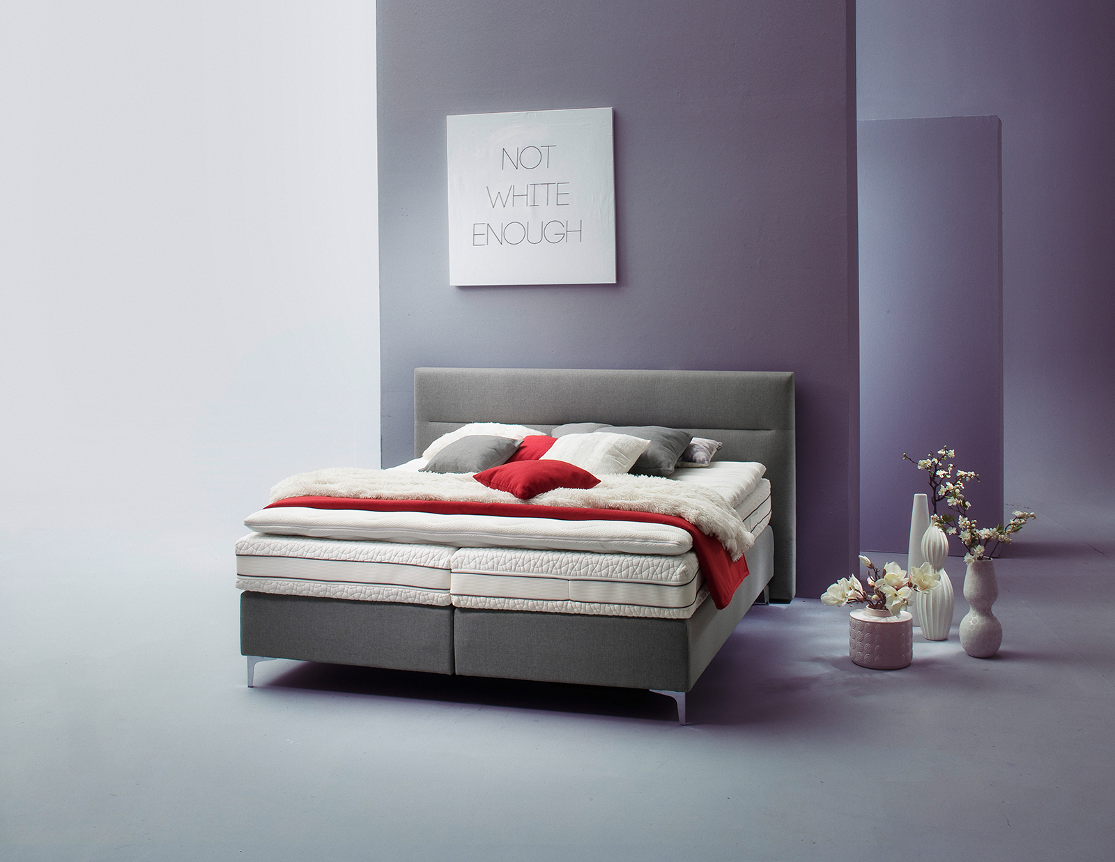 boxspringbett paris in grau cm flamme. Black Bedroom Furniture Sets. Home Design Ideas
