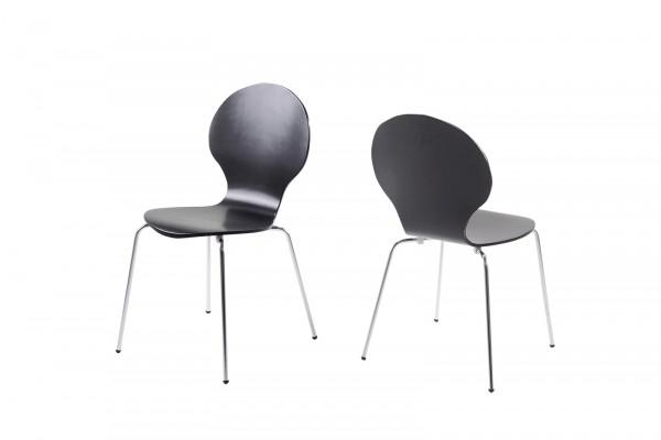 Stapelstuhl mit geschwungener Sitzschale, Schwarz bei flamme.de