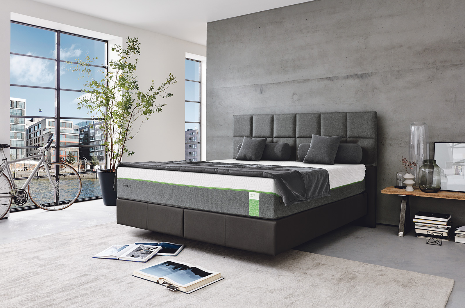 boxspringbett von tempur ca 180x200 cm flamme. Black Bedroom Furniture Sets. Home Design Ideas