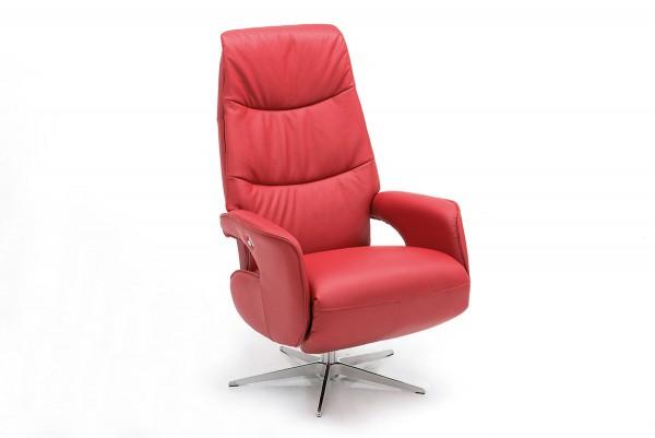 Verstellbarer Relaxsessel aus rotem Leder bei flamme.de
