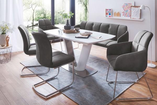 Tisch mit Synchronauszug in matt weiß lackiert bei flamme.de