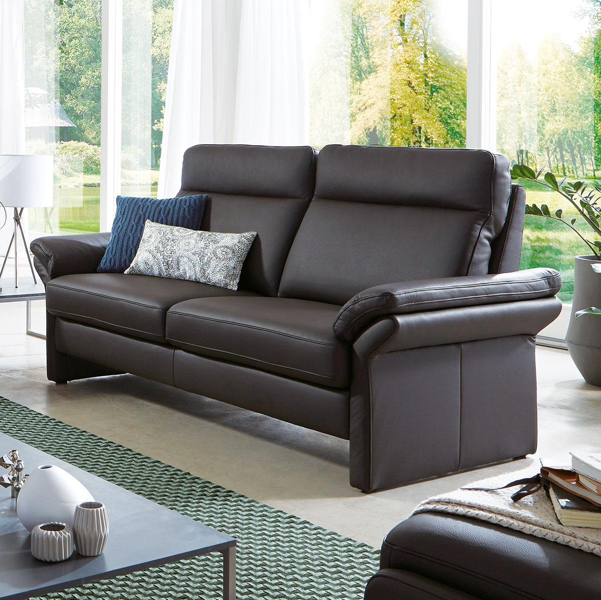Sofa, 2-Sitzer FL601 in Leder schwarz