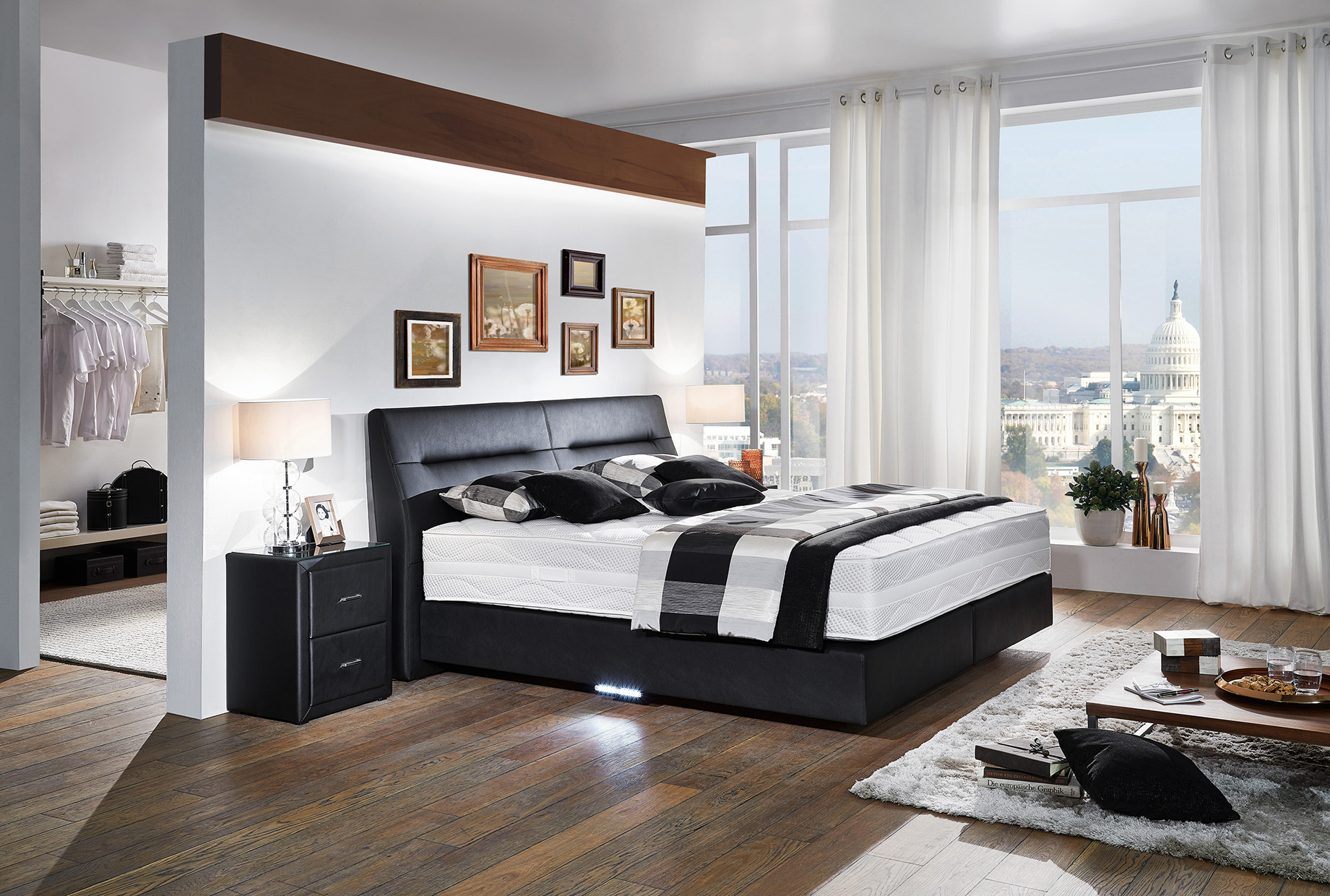 boxspringbett in schwarz ca 180x200 cm flamme. Black Bedroom Furniture Sets. Home Design Ideas