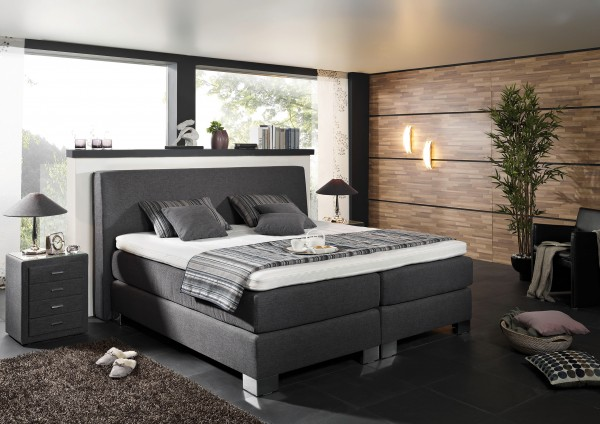 boxspringbett mega spring in grau ca 160x200 cm flamme. Black Bedroom Furniture Sets. Home Design Ideas