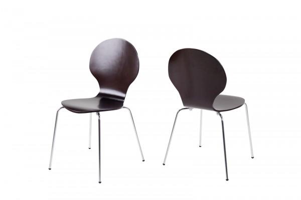 Stapelstuhl mit geschwungener Sitzschale, Wenge