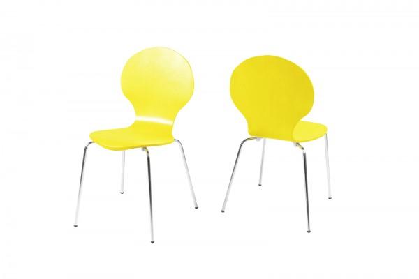 Stapelstuhl in Gelb mit geschwungener Sitzschale