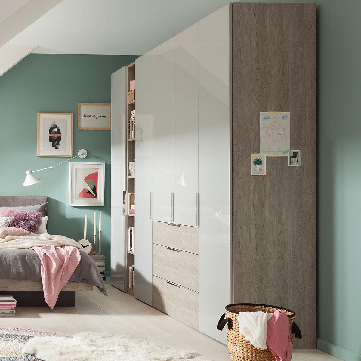 dreht renschrank in platin eiche und seidengrau flamme. Black Bedroom Furniture Sets. Home Design Ideas