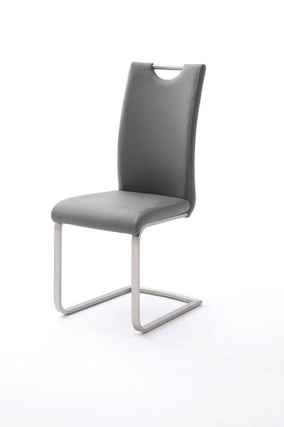 Schwingstuhl mit Griffloch in Kunstleder grau mit Kontrastnaht bei flamme.de