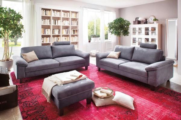 Sofa 2,5-Sitzer in Stoff Deluxe steel bei flamme.de