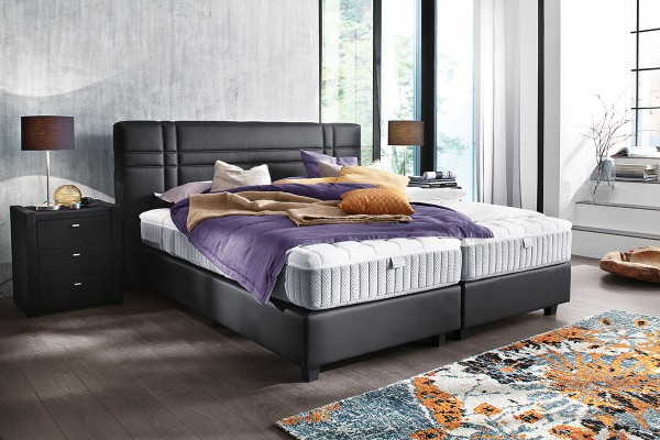 boxspringbett in stoffbezug tony schwarz ca 180x200 cm flamme. Black Bedroom Furniture Sets. Home Design Ideas