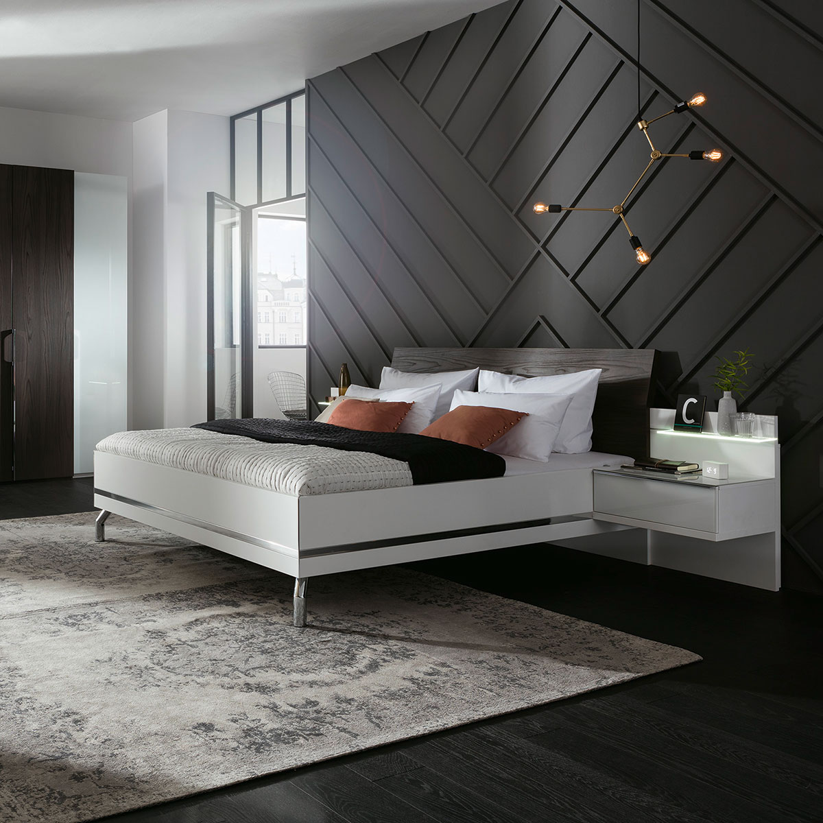 doppelbett concept me500 von nolte m bel ca 180x200 cm flamme. Black Bedroom Furniture Sets. Home Design Ideas