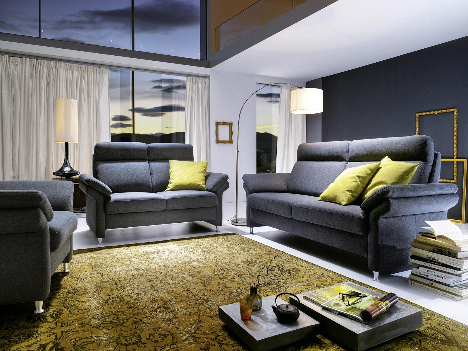 sofa 2 sitzer fl601 in stoffbezug anthrazit flamme. Black Bedroom Furniture Sets. Home Design Ideas