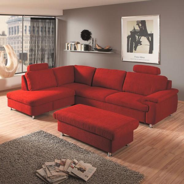 Polsterecke in Stoff rot, ca. 272x203cm bei flamme.de