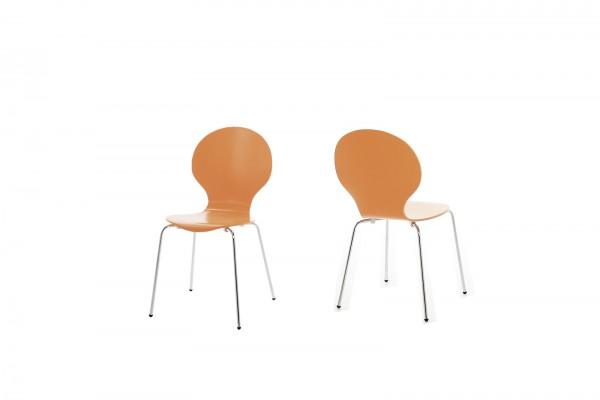 Stapelstuhl in Orange mit geschwungener Sitzschale